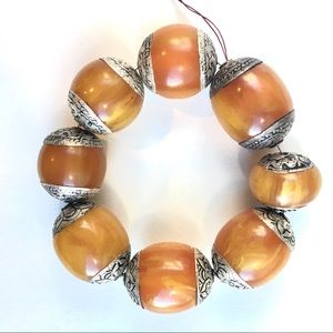 Tibetan amber silver capped beads large size